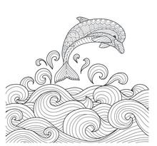 Hand Drawn Zentangle Dolphin W...