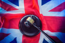 Union Jack Flag And Gavel - Legal Law Concept Image