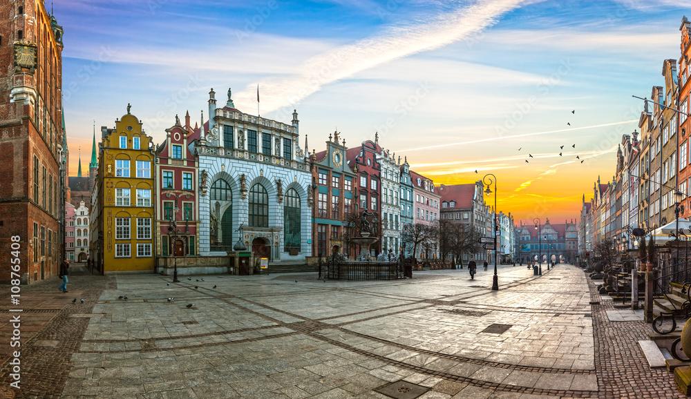 Fototapety, obrazy: Stare miasto Gdańsk rano, Polska