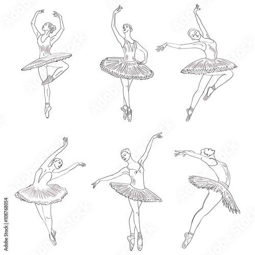 Photo Set of hand drawn sketches young ballerinas standing in a pose