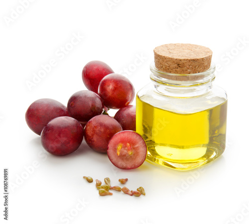 Grapes seeds oil isolated on white background with clipping path. Front view.