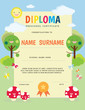 Preschool Elementary school Kids Diploma certificate template. Full vector design with cute cartoon template