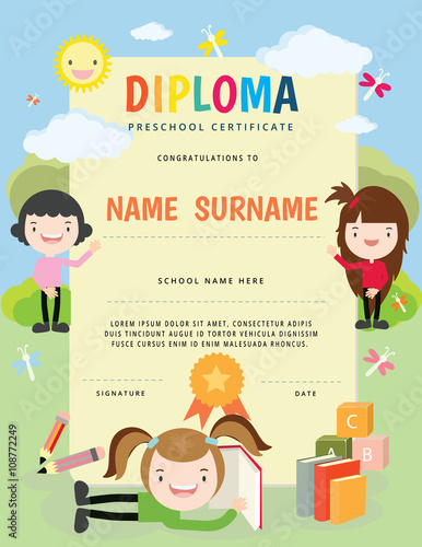 preschool elementary school kids diploma certificate template full vector design with cute cartoon template - Preschool Certificate Template