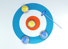 Group Of Curling Stones Top View Of The Ice Shuffleboard. 3d Rendering.