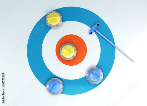Photographie Group of curling stones top view of the ice shuffleboard