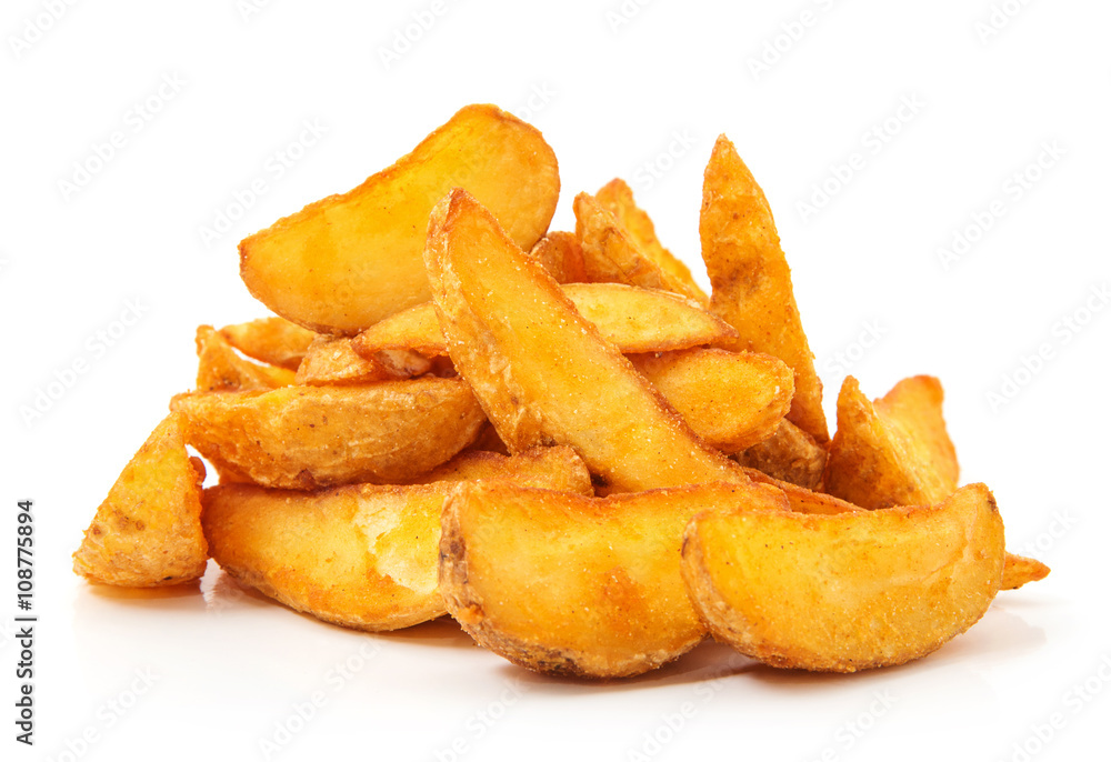 Obraz fried Potato wedges. Fast food. Isolated on white fototapeta, plakat