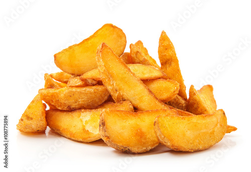 Fotografija fried Potato wedges. Fast food. Isolated on white