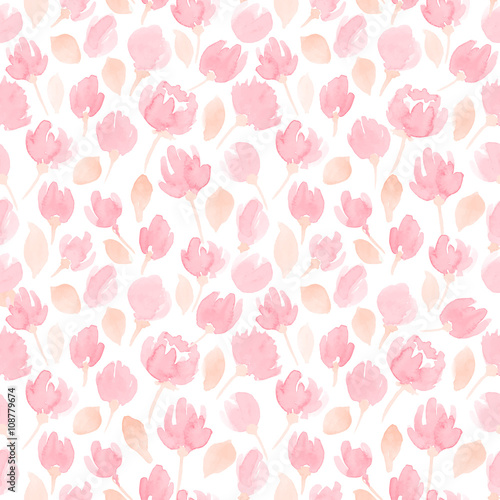 Cotton fabric cute watercolor flowers seamless vector pattern. floral pattern for your design