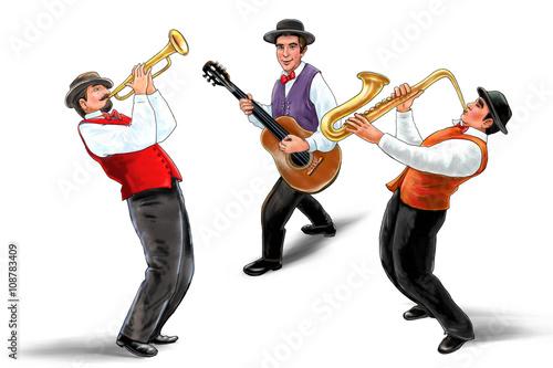 Jazz band, music group, isolated on white background, Trio music