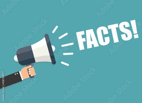 Cuadros en Lienzo Hand holding megaphone - Facts