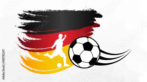Fussballspieler Silhouette Vor Deutschland Flagge Em Wm