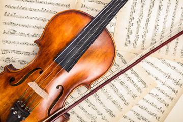 Fototapeta na wymiar Top view of violin on score