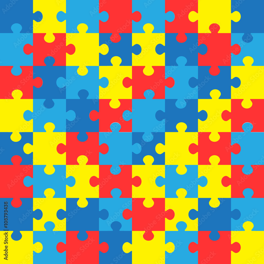 Fototapeta World autism awareness day. Colorful puzzles vector background. Symbol of autism. Medical flat illustration. Health care