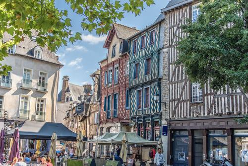 Maisons à Pans de bois, Rennes, Bretagne, France Canvas Print
