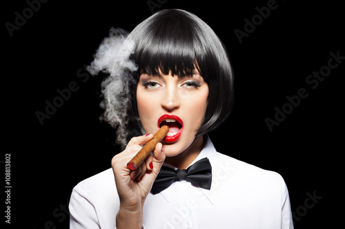 Fotografie, Tablou  Sexy mafiosi woman smoke with cigar