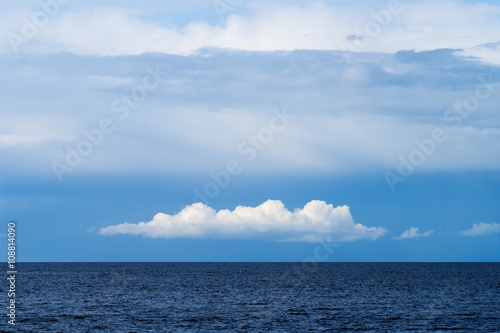 Fotografie, Obraz  White cumulus and altostratus cloud formation over the Baltic sea