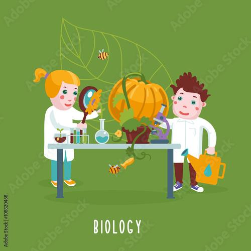 Foto op Canvas Magische wereld Smart Kids. Boy and girl are studying a biology.