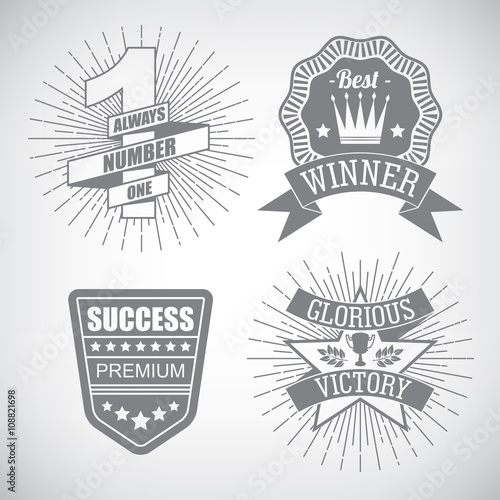 Fotografia, Obraz  Set of hipster emblem about design number one first place winner ribbon