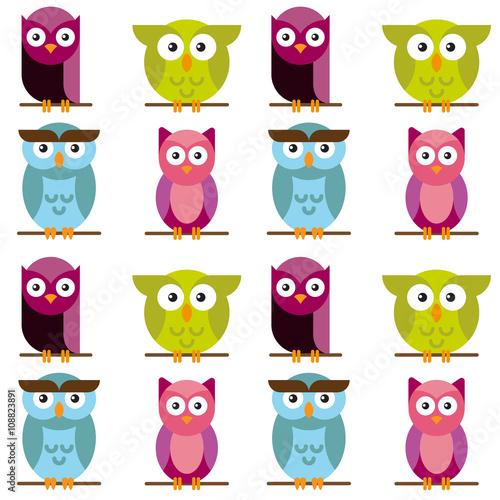 Canvas Prints Owls seamless pattern