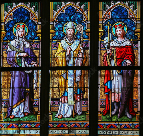 Stained Glass - Saints Ludmilla, Methodius and Wenceslas Poster Mural XXL