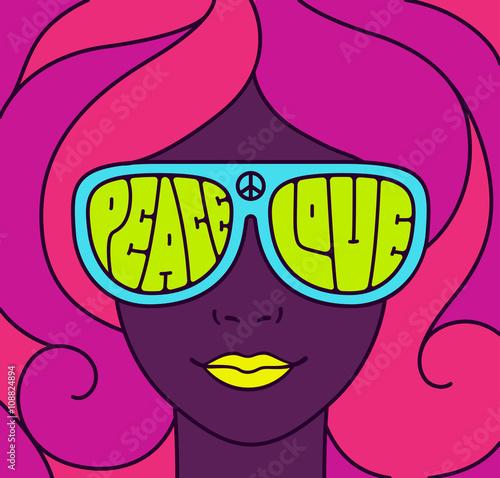 Photo  Hippie Love Peace Illustration