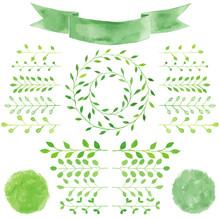 Watercolor Badges, Leaves, Circle Green Wreath, Ribbon, Emblem S