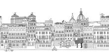 Seamless Banner Of Rome's Skyline, Hand Drawn Black And White Illustration