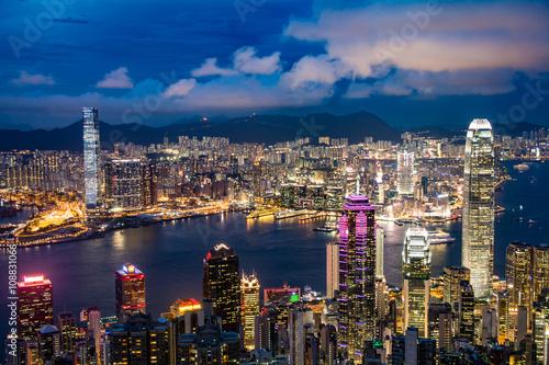 香港 ビクトリアピークからの風景 夕景・夜景 Poster