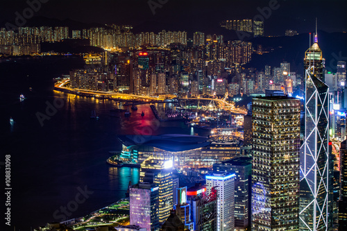 Foto  香港 ビクトリアピークからの風景 夕景・夜景