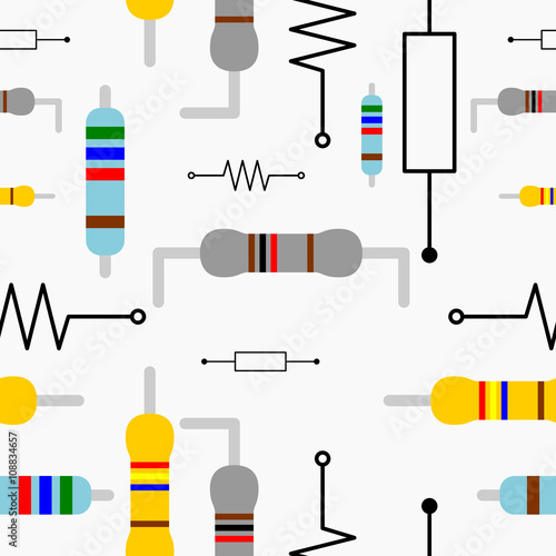 Editable Vector of Resistor Illustration Symbol Seamless Pattern for Creating El Wallpaper Mural