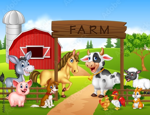 Foto  Farm background with animals