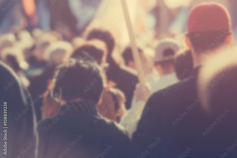 Fototapety, obrazy: Blur unrecognizable crowd at political meeting, cheering audienc