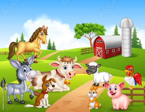 Wall Murals Bears Farm background with happy animals