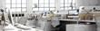 Leinwandbild Motiv Büroeinrichtung (panoramisch)