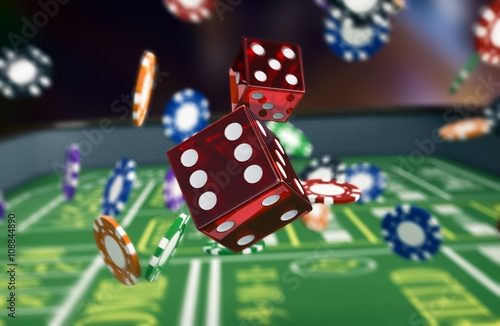 gambling, craps game Wallpaper Mural