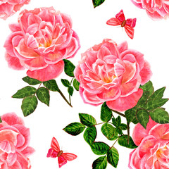 Fototapeta Seamless background pattern with vintage watercolor pink roses and butterflies