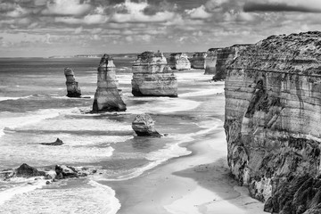 FototapetaTwelve Apostles rock formations, Great Ocean Road, Victoria, Australia. Black and white image.