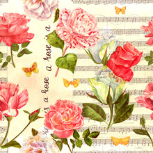 Vintage Style Seamless Pattern With Roses, Butterflies And Sheet
