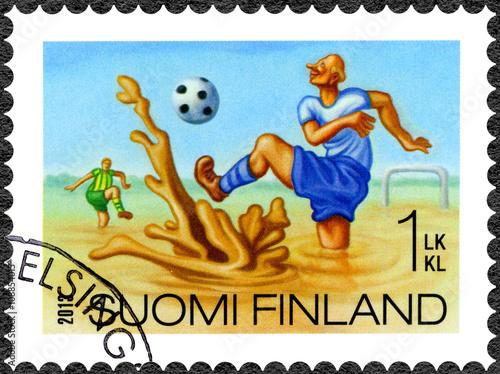 Valokuva  FINLAND - 2013: shows swamp football, series Finnish Oddity