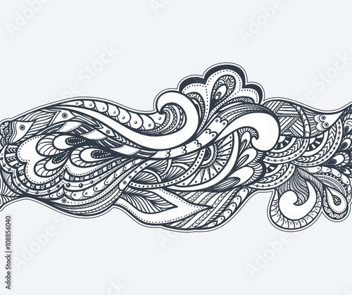 Fototapety, obrazy: Zen-doodle or Zen-tangle texture or pattern  black on white