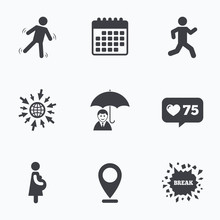 Businessman With Umbrella. Human Running Symbol.