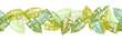 Nahtlose Bordüre aus Avocado Blättern