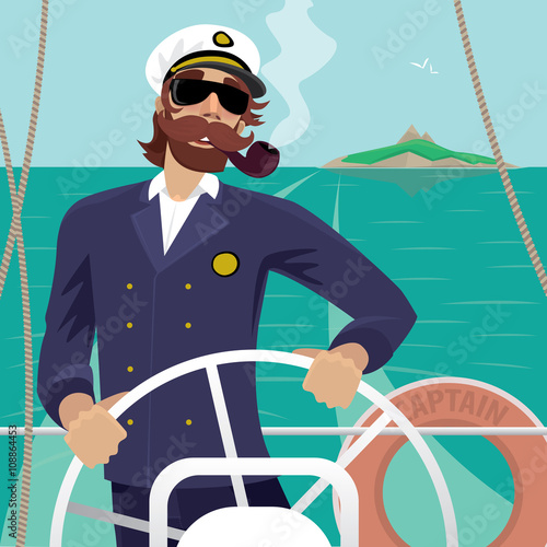 Cuadros en Lienzo Happy sea captain looks funny with a mustache and a pipe standing on the deck of the ship and rotates ship steering wheel