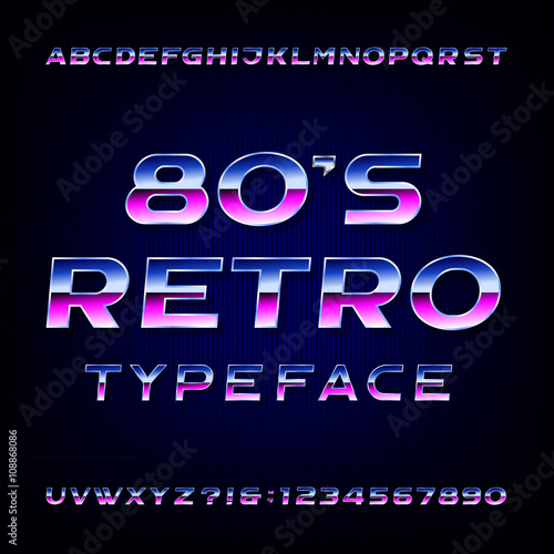 80's retro alphabet vector font  Metallic effect shiny letters and