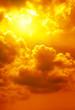 Leinwandbild Motiv Beautiful bright sunset. Heavenly background.
