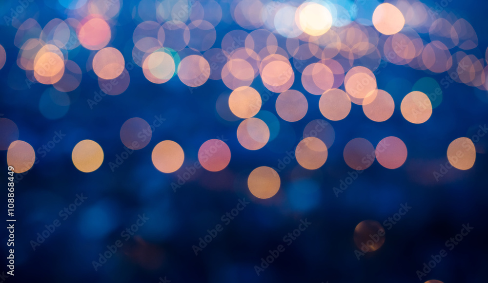 Fototapety, obrazy: blue abstract defocused light background for Christmas, panorama
