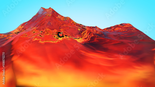 Deurstickers Rood 3D illustration of surreal jelly mountains
