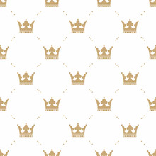 Seamless Pattern In Retro Style With A Gold Crown On A White Background. Can Be Used For Wallpaper, Pattern Fills, Web Page Background,surface Textures. Vector Illustration.