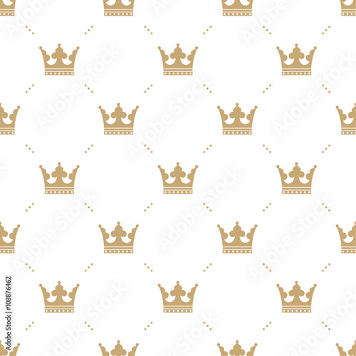 Obraz na plátne Seamless pattern in retro style with a gold crown on a white background