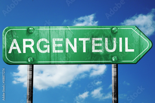 argenteuil road sign, vintage green with clouds background Wallpaper Mural